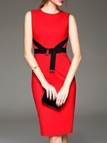 Red Zipper Tie-Waist Sheath Dress
