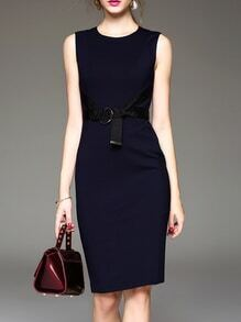 Navy Zipper Tie-Waist Sheath Dress