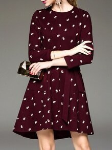 Burgundy Tie-Waist Pockets High Low Dress