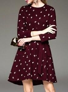 Burgundy Tie-Waist Pockets High Low Dress