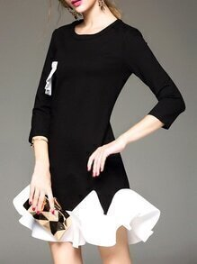 Black Crew Neck Ruffle Shift Dress