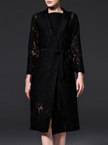 Black V Neck Tie-Waist Gauze Embroidered Coat
