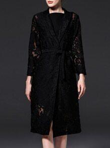 Black V Neck Tie-Waist Gauze Embroidered Coat