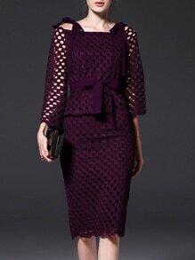 Purple Boat Neck Tie-Waist Mesh Top With Skirt