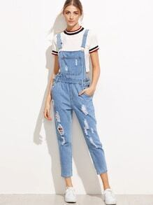 Blue Ripped Denim Overall Jumpsuit