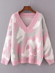 Pink Leopard Print Drop Shoulder Sweater