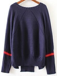 Navy Striped Trim Split Asymmetrical Sweater