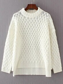 White Crew Neck High Low Loose Sweater