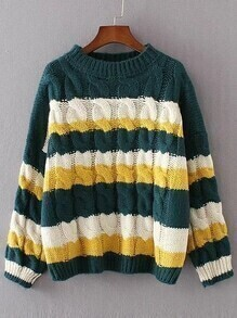 Dark Green Color Block Cable Knit Sweater