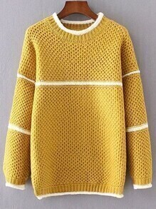Yellow Contrast Striped Loose Sweater