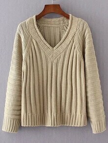 Khaki V Neck Loose Sweater