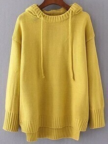 Yellow Drawstring Hooded Dip Hem Sweater