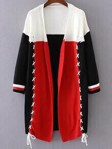 Color Block Lace Up Long Cardigan