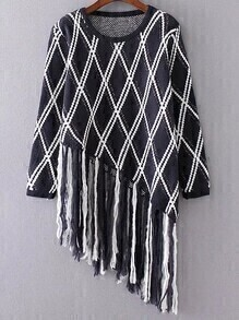 Navy Diamond Pattern Fringe Hem Asymmetrical Sweater