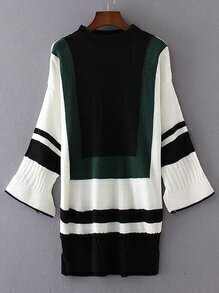 Color Block Split Cuff Sweater Dress