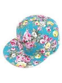 Turquoise Floral Print Baseball Cap
