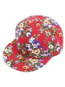 Red Floral Print Baseball Cap