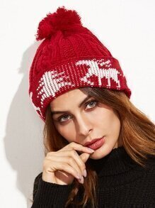 Red Christmas Pom Pom Knit Hat