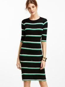 Elbow Sleeve Striped Pencil Dress