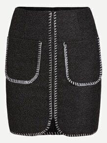 Grey Pockets Split Bodycon Skirt