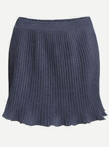 Blue Elastic Waist Pleated Skirt