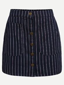 Vertical Striped Single Breasted Pockets Skirt
