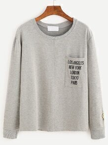 Grey Letters Embroidered Long Sleeve T-shirt