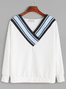 V Neck Striped Trim Sweatshirt