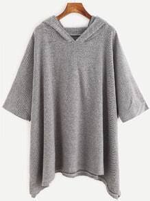 Grey Hooded Loose Sweatshirt