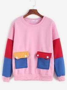 Color Block Pockets Sweatshirt