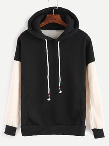 Black Contrast Sleeve Drawstring Hooded Sweatshirt