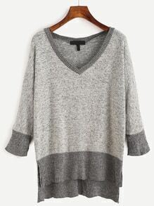 V Neck Contrast Hem Split Sweater