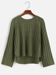 Raglan Sleeve Dip Hem Sweater