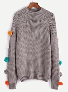 Grey Drop Shoulder Pom Pom Sweater