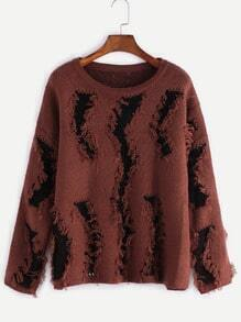 Drop Shoulder Ripped Sweater