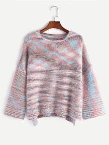 Drop Shoulder Dip Hem Sweater