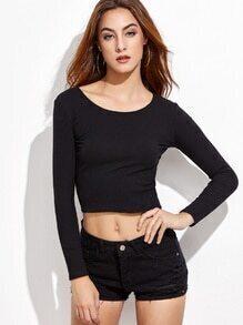 Black Ribbed Crop Sweater