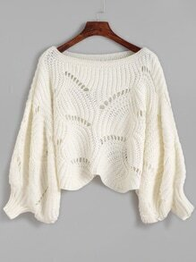 White Lantern Sleeve Eyelet Sweater