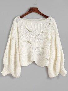 White Lantern Sleeve Eyelet Sweater