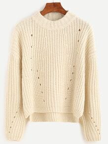 Apricot Drop Shoulder Split Dip Hem Sweater