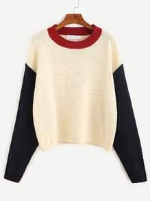 Color-block Drop Shoulder Sweater