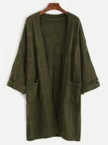 Army Green Pockets Chunky Knit Coat