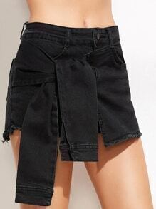 Black Fringe Knotted Denim Shorts