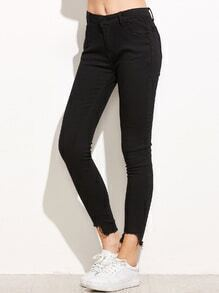Black Fray Hem Skinny Pants