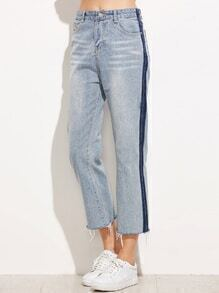 Pale Blue Fringe Denim Pants