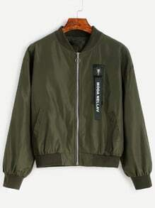 Army Green Zipper Letters Patch Bomber Jacket
