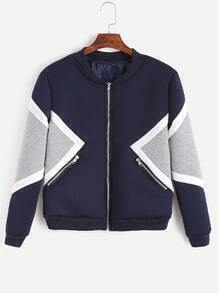 Color Block Zipper Bomber Jacket