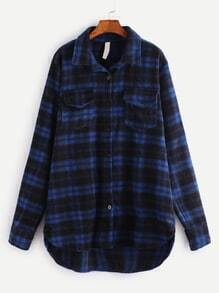 Dip Hem Plaid Patch Back Coat