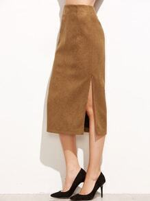 Khaki Suede Split Side Skirt