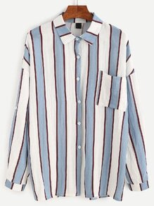 Vertical Striped Pocket Blouse